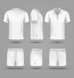 Rugby shorts and t shirt white blank man sport vector