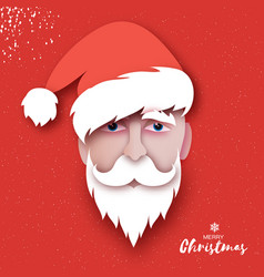 santa claus hat and beard in paper cut style vector image