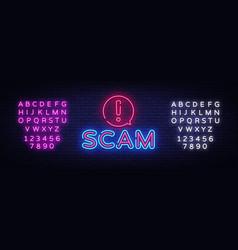 scam neon signboard scam neon sign design vector image