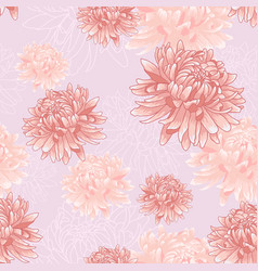 seamless floral pattern with pink chrysanthemums vector image