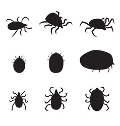 set black silhouette dog tick icon isolated vector image