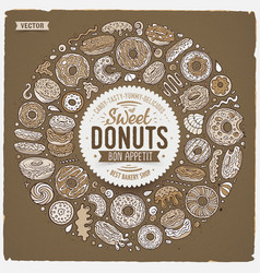 set donuts cartoon doodle objects symbols and vector image