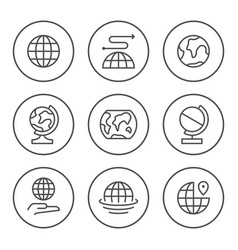 Set round line icons globe vector