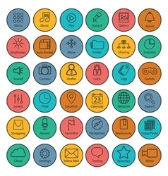 set universal modern thin line icons for web vector image
