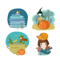 Set with cute autumn pictures isolated objects vector