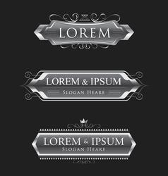 Silver logos calligraphic design template vector