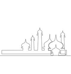 single continuous line drawing masjid masjid vector image