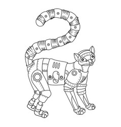 Steam punk lemur coloring book vector