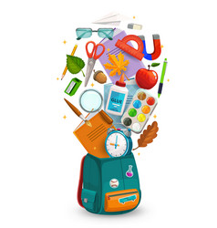 student bag with school or education supplies vector image
