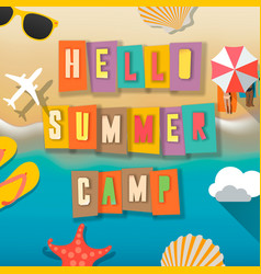 Summer camp for kids poster beach vector