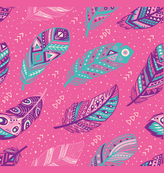 tribal feathers pattern in blue pink and purple vector image