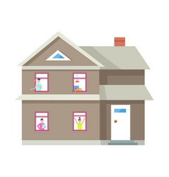 Two storey house people in windows building vector