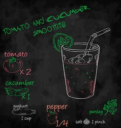 Vegetables smoothie with ingredients list Tomato vector
