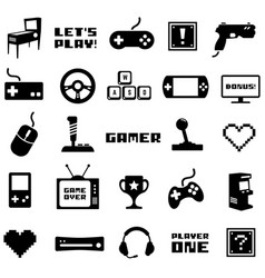 Video game retro arcade gamer clip art vector