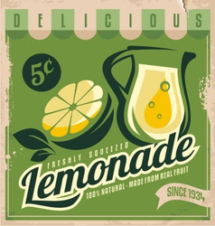 Vintage poster template for lemonade vector image