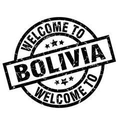 welcome to bolivia black stamp vector image vector image