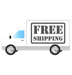 white transport truck car with free shipping vector image