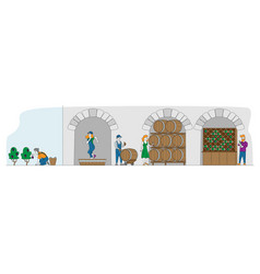 Winemaking wine producing and drinking concept vector