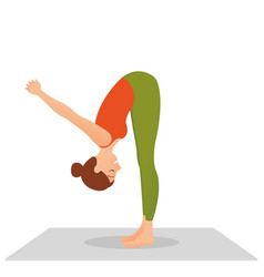 Woman practices yoga on a white background vector
