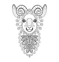 Zentangle Ram Head Goat vector