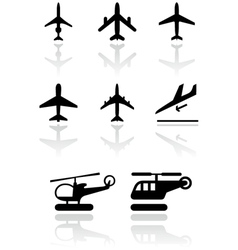 airplane and helicopter symbol vector image