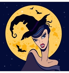 Beautiful witch Halloween vector image
