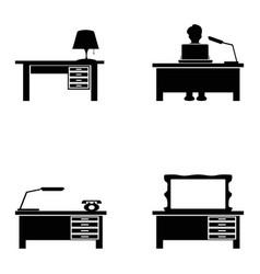 black desk icons set vector image
