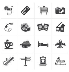 Black Travel and vacation icons vector image vector image