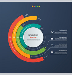 circle informative infographic design 4 options vector image vector image