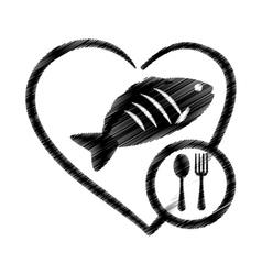 hand drawing heart fish food health vector image vector image