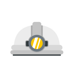 helmet with light icon flat style vector image