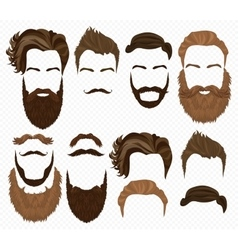 Man hair mustache and beards collection Hipster vector image vector image