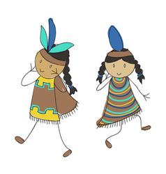 native american kids vector image vector image