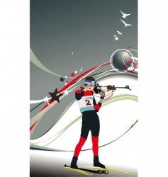 biathlon skier poster vector image