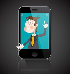 Business Man in Telephone - Man to Shake Hand vector image vector image