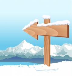 direction sign with winter vector image