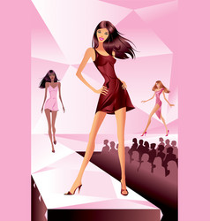 fashion models represent new collection vector image