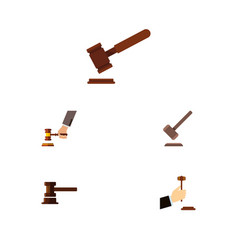 Flat icon hammer set of law justice crime and vector