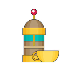 french press flat vector image vector image