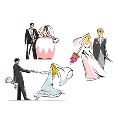 Wedding couples icons vector image