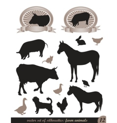 12 silhouettes of animals vector image