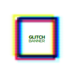 abstract glitch square frame distorted rectangle vector image