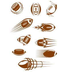 Brown rugby ball icons vector image vector image