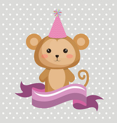 cute monkey with party hat kawaii birthday card vector image
