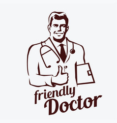 doctor portrait retro emblem stylized sketch of vector image
