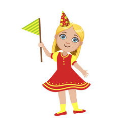 girl in red dress with flag part of kids at the vector image vector image