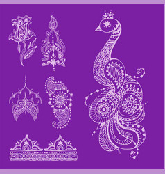 henna tattoo brown mehndi flower doodle ornamental vector image
