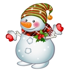 Isolated stands snowman funny christmas character vector