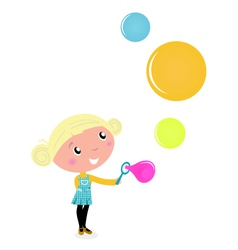 little girl blowing bubles vector image