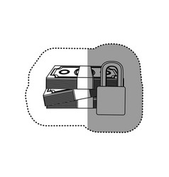 monochrome contour sticker of stacked bills with vector image vector image